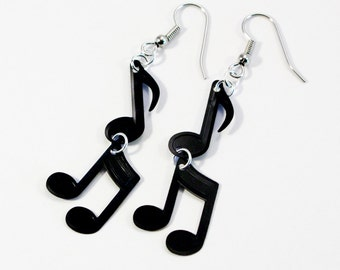 Music Note Earrings Black Eighth Notes Sequin Dangles Plastic Confetti Jewelry