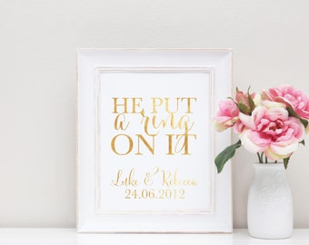 Engagement Gift - Personalised engagement gift - Foil Print