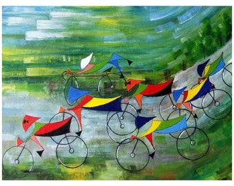 Rio Road Race - Acrylic on canvas board.