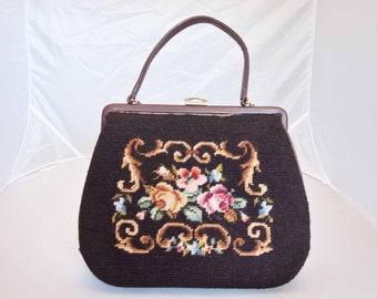 Vintage Needlepoint Purse/Handbag with Roses