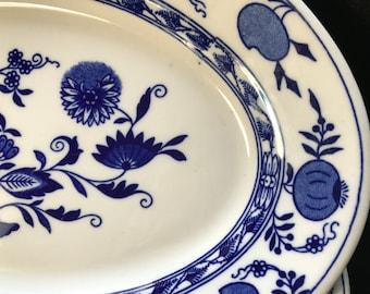 Sterling China, vintage, restaurant ware, platters, blue, white, diner