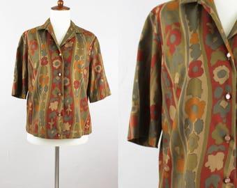 Vintage 50s Print Shirt Blouse // Womens M Medium // Short Sleeve Top // Graff pattern Floral // Boho 3/4 Sleeve // Art Deco Rust Green Blue