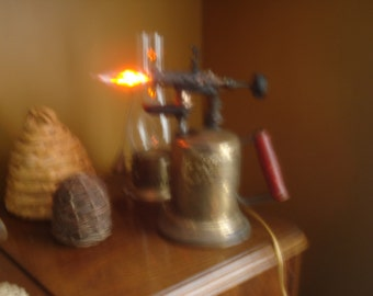 REPURPOSED desk lamp or night light ReCreated from an antique acetylene torch