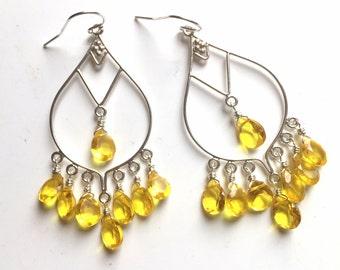 Lemon Zest Boho Chandeliers, Sterling, Yellow Chandelier Earrings, Gift Idea, Leo earrings, Summer Girl