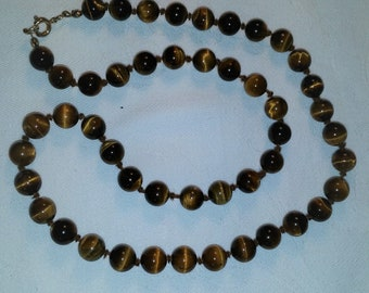 A Vintage Hand Knotted Tiger Eye Necklace