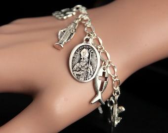 Saint Valentine Bracelet. Catholic Bracelet. St Valentine Charm Bracelet. Catholic Jewelry. Religious Jewelry. Handmade Jewelry