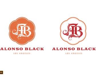 Premade AB Monogram Logo Design - INSTANT DOWNLOAD