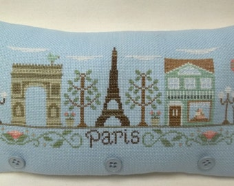 Paris, France Landmarks Cross Stitch Mini Pillow, Eiffel Tower, Arc de Triompe,