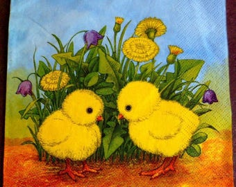 Chicks Easter napkin