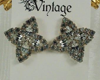 Vintage Clear Rhinestone Post Earrings, Silver Bridal Wedding Post Earrings, Silver Marquis Rhinestone Earrings Under 15