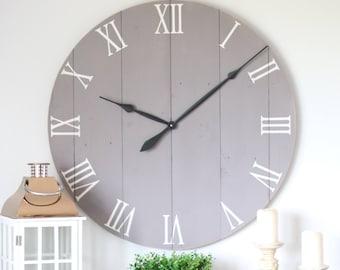 "36"" wall clock. Chalk medium grey paint. Large wall clock. Living room decor. Living room wall decor. Large clock. Living room clock."