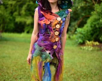Nuno Felted Rainbow Pixie Costume-Woodland Flower Vest-Hooded Fairy Vest-Rainbow Fairy Costume-Pixie Wear-Rainbow Costume OOAK
