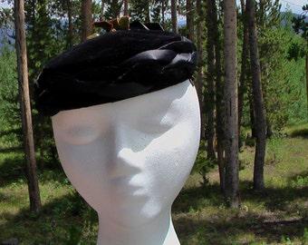 Vintage Black Beret 50s 60s Hat Velvet Beret Styled By Coralie Hat Topper Headpiece