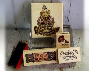 Wood Stamps- Birthday Bear