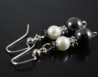 FREE SHIPPING, Black and white earrings, Black silver earrings, Hematite earrings, white silver earrings, black beaded earrings