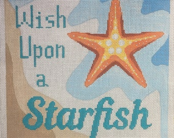 Hand Painted Starfish Needlepoint Canvas by MyPinkSugarLife