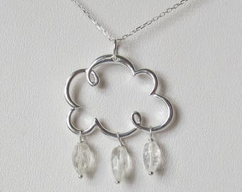 Silver Cloud Necklace with Rainbow Moonstone