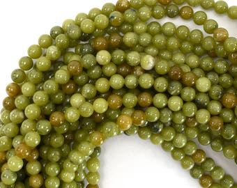 "6mm brown olive jade round beads 15.5"" strand 39232"