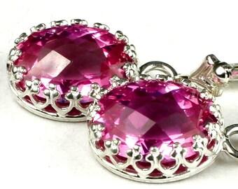 Pure Pink Topaz, 925 Sterling Silver Crown Bezel Leverback Earrings, SE109
