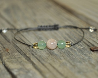 Good Luck, Sunstone, Aventurine, Citrine, Meditation Bracelet, Yoga Bracelet, Crystal Healing, Minimalist, Prosperity, Creativity