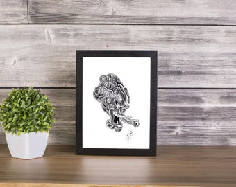 Baku handmade Drawing, Digital Print, Art Print, Made in pencil, charcoal and ink, japanese art