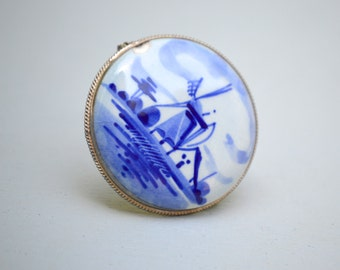 Vintage Delft Pin . Windmill Pin . Silver Plated . Blue White. Signed