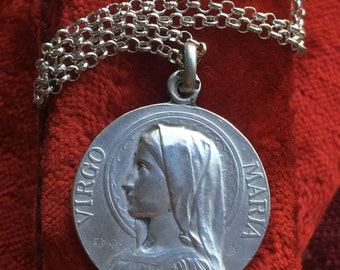 Blessed Mother Virgin Mary Medal Necklace Vintage Catholic French Hallmarked Silver Jewelry Religious Gift Christian Communion  Dropsy