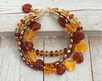 Fall bracelet for women, multistrand bracelet, gift for her, Mothers day  gift