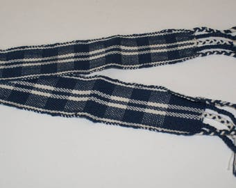 Hand woven blue and white headband