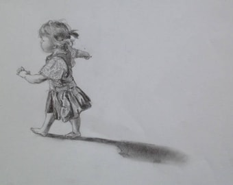 Little girl picture running on the beach canvas, a print of my original pencil drawing 20cm x 20 cm
