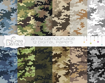 Army camouflage - Army cameo  - 12 digital papers - INSTANT DOWNLOAD
