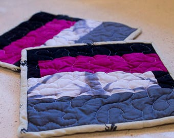 Set of Quilted Pot Holders, Modern Shibori Pot Holder