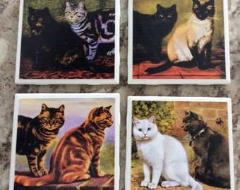 Adorable Tabby And Siamese Cats Ceramic Tile Coasters Set(4) With Cork Backing