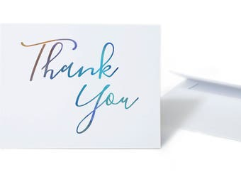 Thank You Card Set  Watercolor Brushscript