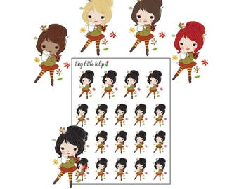 Planner Stickers Girl w/ Coffee