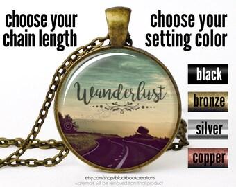 Wanderlust Necklace, Wanderlust Pendant, Wanderlust Jewelry, Wanderlust Road Necklace, Bohemian