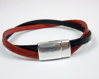Red and Black Embossed Flat Leather Double Strand Bracelet with Magnetic Clasp