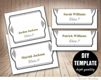 Elegant Wedding Placecard Template Foldover, DIY Black Gold Place card,Printable Wedding Seating Placecards, Instant Download