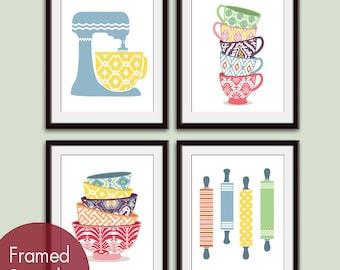 Cute Kitchen Pattern Utensils (A) (Mixer, Cups, Bowls, Rolling Pin) Set of 4 - Art Prints (Assorted Colors) Kitchen Art Prints