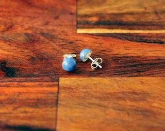 blue studs 8mm, navy ceramic earrings, ceramic blue bronze, navy earrings 925 silver, blue silver earrings, simple blue earrings, navy stud