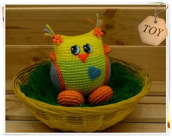 Crochet Owl Toy Amigurumi Owl Toy Crochet Yellow Green Owl Stuffed Owl Toy Soft Owl Toy Crochet Baby Owl Girl Handmade Toy Little Owl Plush