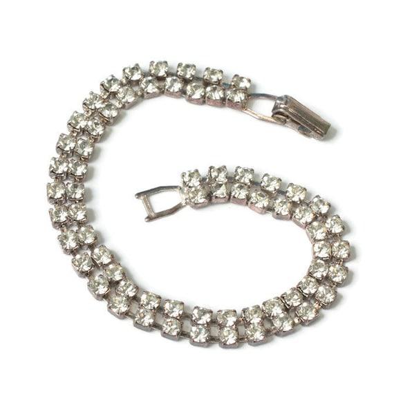Two Row Clear Rhinestone Bracelet Vintage Wedding Prom
