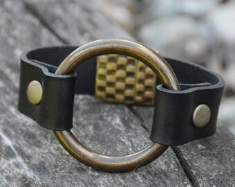 RING BRACELET, LEATHER Ring Bracelet, Joanna Gaines style, Vintage Style ,Leather Bracelet, Boho style