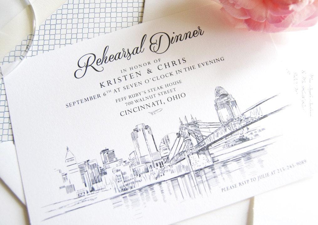 Cincinnati Skyline Rehearsal Dinner Invitations set of 25