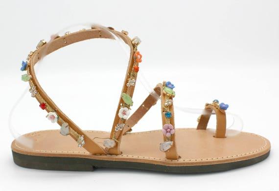 wedding Rhinestone handmade sandals embellished femme greek sandals Leather sandales cuir sandals greek 0qwUrA0