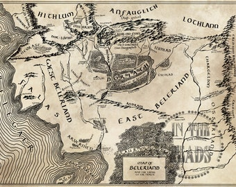 Fantasy Map of Beleriand/ Free US Shipping