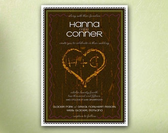Initials and Heart Carved in a Tree UNIQUE WEDDING INVITATION, Wood Carved, Lace Border