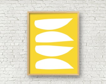 Yellow abstract art yellow modern art yellow mid century wall art large digital art prints 11x14 & 16x20 oversize art print instant download