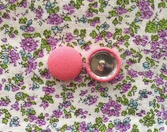 Pink Button Earrings / Handmade Gifts / Wholesale Jewelry / Trendy / Solid Colored / Manhattan Hippy / Made in the USA / Hypoallergenic Ear