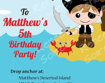 PIRATE INVITATION - Printable - Birthday Party - Customizable - Twins too - Banners, Cupcake Toppers & more also available